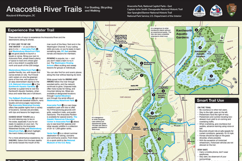 Anacostia River Trails Map 2017 Update