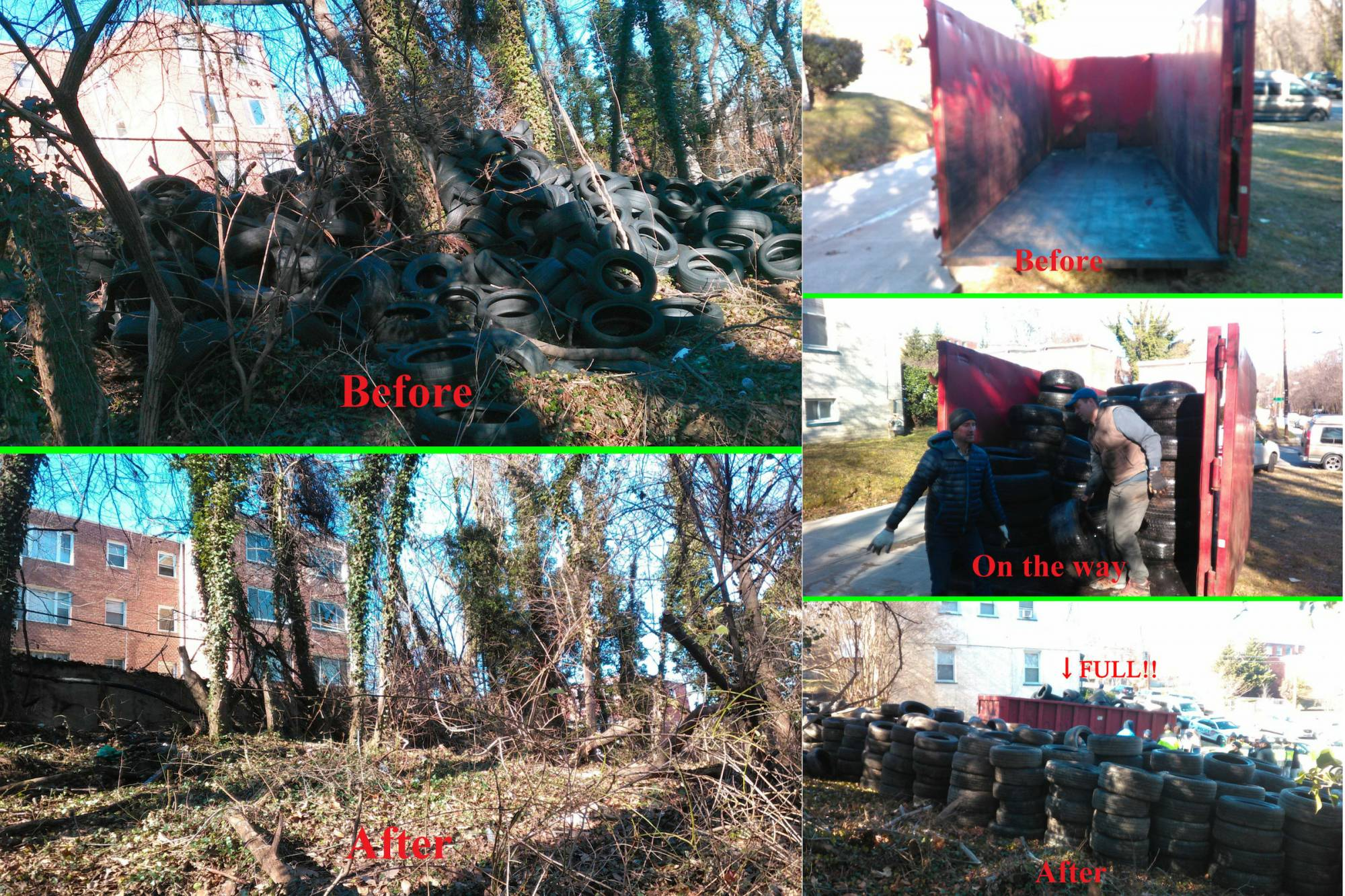 Anacostia Watershed Society teams with Mayor's Office of a Clean City and MPD to clean 492 tires from Fort Dupont