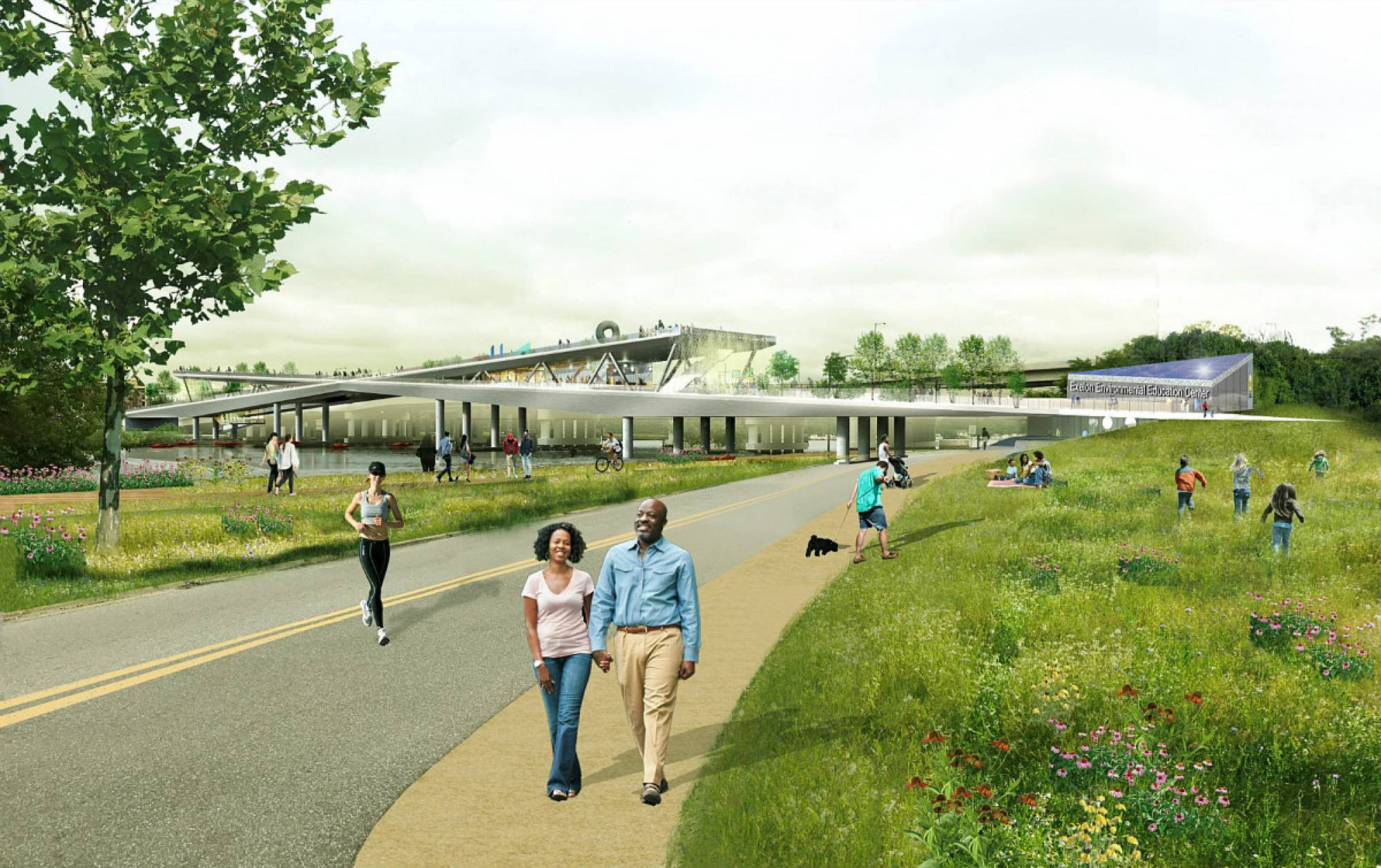 Rendering of bridge park from the East Bank. Image courtesy OLA + OLIN